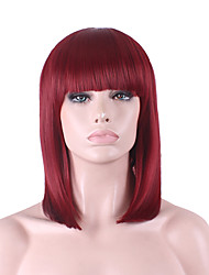 cheap -Synthetic Wig Straight / Yaki Bob Haircut / With Bangs Synthetic Hair Natural Hairline Burgundy Wig Women's Mid Length Capless