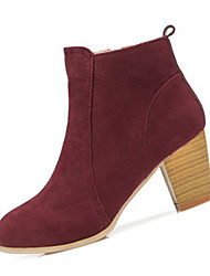 billige -Dame Sko PU Vinter Modestøvler Støvler Kraftige Hæle for Afslappet Sort Rød Mandel