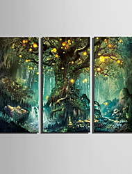cheap -E-HOME® Stretched LED Canvas Print Art Shining Fantasy Tree LED Flashing Optical Fiber Print Set of 3