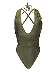 cheap -Women's Solid Solid Halter One-piece Swimwear White Black Orange Army Green Khaki