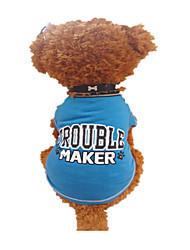 baratos -Cachorro Camiseta Roupas para Cães Carta e Número Preto e Azul Algodão Ocasiões Especiais Para animais de estimação