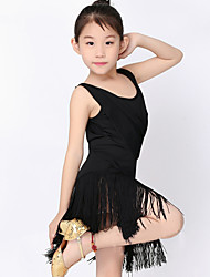 cheap -Kids' Dancewear Dresses Children's Performance Milk Fiber Tassel(s) 1 Piece Black / Blue / Fuchsia / Green / Red