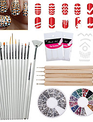30 Pcs  Nail Art Set of Brushes(20pcs),2 Boxes of Manicure Acrylic Diamond+8pcs Dotters and Decorations