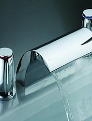 billige -Moderne Vandfald Udbredt Keramik Ventil Tre Huller Krom
