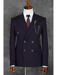 Purple Stripes Slim Fit Polyester Suit - Slim Notch Double Breasted Two-buttons