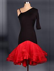 Latin Dance Dresses Women's Performance Spandex Draped 1 Piece Latin Dance / Samba Dress Belt