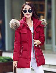 Women's Regular Down Coat,Simple Cute Street chic Active Sports Casual/Daily Holiday Solid-Cotton Polyester Without Filling Material Long