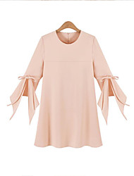 Women's Casual/Daily Street chic Summer Blouse,Solid Round Neck ¾ Sleeve Blue / Pink Acrylic Medium