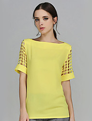 Women's Solid Yellow Blouse,Boat Neck Short Sleeve
