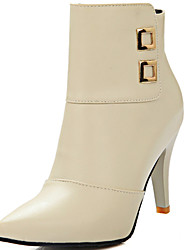 billige -Kunstlæder-Modestøvler-Dame-Sort Beige-Formelt-Tyk hæl