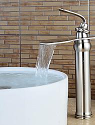abordables -Contemporain Set de centre Cascade with  Valve en céramique Mitigeur un trou for  Nickel brossé , Robinet lavabo
