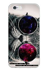 gato com óculos padrão TPU caso de volta suave para iphone 6s 6 mais