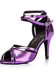 baratos -Mulheres Sapatos de Salsa Flocagem Sandália / Salto Presilha Salto Agulha Não Personalizável Sapatos de Dança Roxo / Interior
