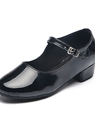 cheap -Latin Shoes / Modern Shoes Patent Leather Heel Buckle Flat Heel Customizable Dance Shoes Black / Silver / Indoor / Practice