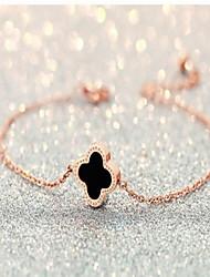 billige -Dame Kæde & Lænkearmbånd Mode kostume smykker Legering Cirkelformet Kærlighed Firkløver Smykker Til Bryllup