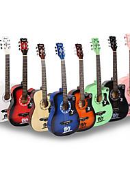 billige Guitarer-Profesjonell Gitar 38 Inch Gitar Tre for nybegynner Fargerik Musikk Instrument tilbehør