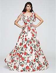 Funda / Columna Tirantes Spaghetti Hasta el Suelo Raso Baile de Promoción Evento Formal Vestido con Lazo(s) Fruncido por TS Couture®