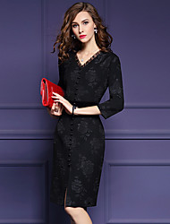 cheap -Women's Going out Street chic Sheath Dress,Solid / Floral V Neck Knee-length ¾ Sleeve Black Polyester Fall