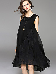 cheap -Women's Plus Size Going out Street chic Silk Cotton Swing Dress - Jacquard Black, Layered High Rise Asymmetrical
