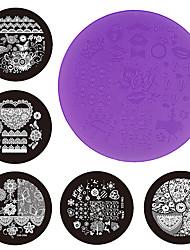 1pcs New Purple Plastic Nail Art Stamping Plates 7cm OM-D Series Polish Design Print Stencil DIY Nail Template Tools