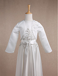Long Sleeves Satin Wedding Party Evening Casual Kids' Wraps With Flower(s) Shrugs