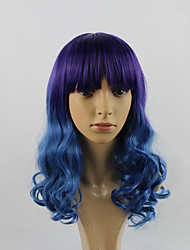 cheap -highlight purple blue ombre color fashion hair styling body wave long length wigs