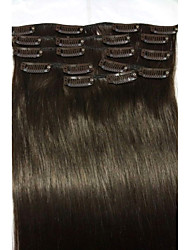"cheap -18""#2 Dark Brown Clip In Human Hair Extensions 8Pcs/80g"