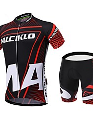 cheap -Malciklo Men's Short Sleeves Cycling Jersey with Shorts - Red/black British Geometic Bike Clothing Suits, 3D Pad, Quick Dry, Breathable,