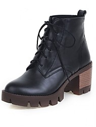 cheap -Women's Shoes Synthetic / Patent Leather / Leatherette Spring / Fall / Winter Cowboy / Western Boots / Combat Boots Heels Walking Shoes Wedge Heel Lace-up Black / Yellow / Red / Wedding
