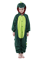 cheap -Kigurumi Pajamas Dinosaur Onesie Pajamas Costume Polar Fleece Green Cosplay For Kid's Animal Sleepwear Cartoon Halloween Festival /