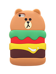 3D bear hamburg Silicone Case for iPhone 7 7 Plus 6s 6 Plus SE 5s 5