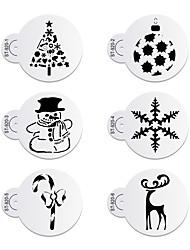 6Pcs Christmas Snowman Stencils Cookie Stencil Set Plastic Decorative Stencils Cupcake Stencil for Party ST-920