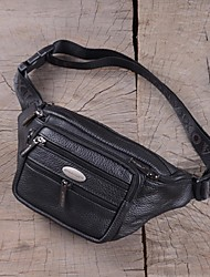 cheap -Men's Bags Cowhide Waist / Fanny Bag Zipper Black / Brown