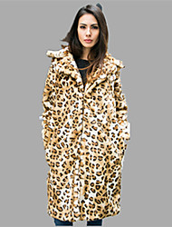 cheap -Women's Party Evening Daily Wear Work Wear Date Vintage Fall Fur Coat,Leopard Shawl Lapel Long Sleeve Long Cotton Polyester Nylon Others
