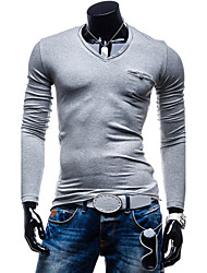 cheap -Men's Solid Casual T-Shirt,Cotton Long Sleeve-Black / Blue / White / Gray