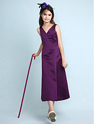 A-Line Princess V-neck Knee Length Satin Junior Bridesmaid Dress with Pleats by LAN TING BRIDE®