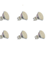 GU10 LED Spotlight Recessed Retrofit 60 SMD 3528 300LM lm Warm White Cold White 3000-3200/6000-6500 K Decorative AC 220-240 DC 12 V 6pcs