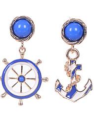 European Style Fine Jewelry Vintage Blue Resin Dangle Earrings Original Asymmetric Boat Helm Anchor Earrings For Women