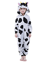cheap -Kigurumi Pajamas Milk Cow Onesie Pajamas Costume Polar Fleece Black Cosplay For Kid's Animal Sleepwear Cartoon Halloween Festival /