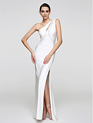 Mermaid / Trumpet One Shoulder Floor Length Jersey Formal Evening Dress with Buttons by TS Couture®