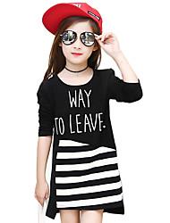 T-shirt Girl Casual A strisce Cotone Primavera / Autunno Nero / Bianco