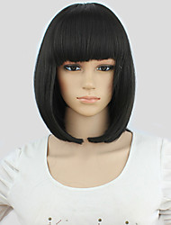 cheap -Synthetic Wig / Costume Wigs Straight Bob Haircut / With Bangs Synthetic Hair Black Wig Women's Cosplay Wig Capless