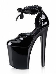 baratos -Feminino-Saltos-Sapatos clube Light Up Shoes-Salto Agulha Salto Alto de Cristal-Preto Transparente-Couro Envernizado-Casamento Ar-Livre