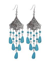 abordables -Plateado Turquesa Legierung Cosecha estilo de Bohemia Forma de Flor Azul Joyas Diario Casual 1 par
