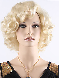 cheap -Sexy Ladies Europe Short Blonde Curly Wig Heat Resistant Synthetic Wigs