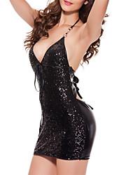 Недорогие -ультрасовременный сексуальный ночной костюм для женщин, сексуальный серебристый серебристый серебристый / черный