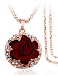 cheap -Women's Roses Flower Party Casual Fashion Gift Boxes & Bags Pendant Necklace Rhinestone Fabric Rose Gold Plated Imitation Diamond Alloy