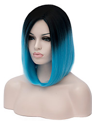 Womens Short Straight Hair Synthetic Wig Black/blue Ombre Colors Anime Cosplay Wigs Party Kanekalon Fibre 35cm