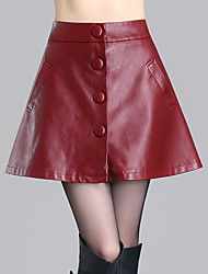 Women's Solid Red  Black Skirts,Sexy  Simple Above Knee Plus Size