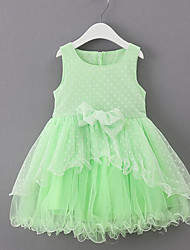 cheap -Girls' Daily Solid Dress,Cotton Polyester Summer Half Sleeves Bow White Pink Light Green